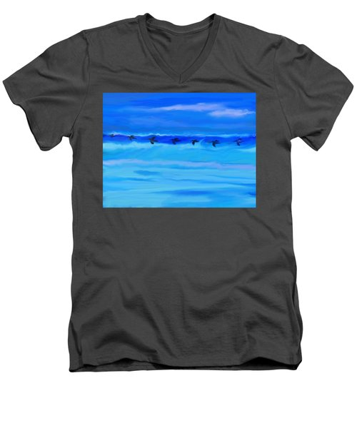 Vol De Pelicans Men's V-Neck T-Shirt by Aline Halle-Gilbert