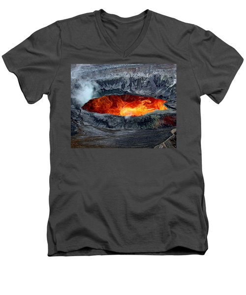 Volcanic Eruption Men's V-Neck T-Shirt