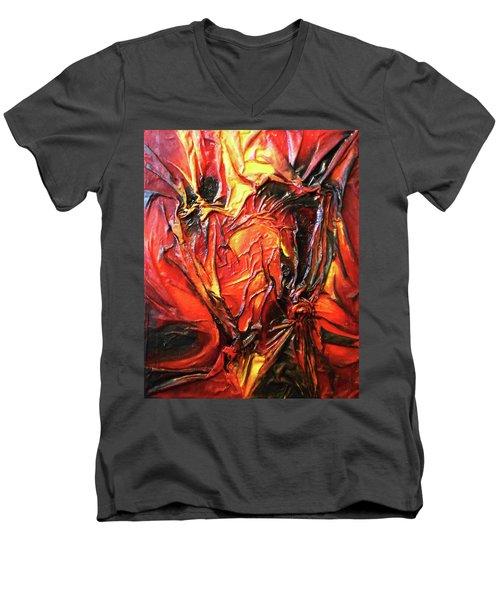 Volcanic Fire Men's V-Neck T-Shirt by Angela Stout