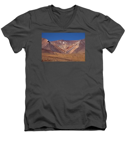 Volcano Crater In Siloli Desert Men's V-Neck T-Shirt
