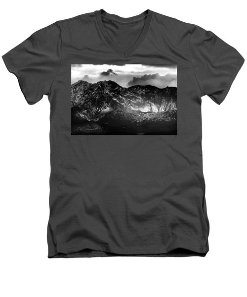 Men's V-Neck T-Shirt featuring the photograph Volcano by Hayato Matsumoto