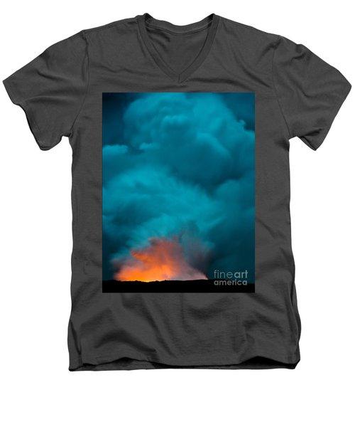 Volcano Smoke And Fire Men's V-Neck T-Shirt