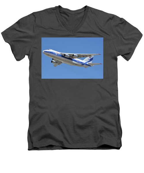Men's V-Neck T-Shirt featuring the photograph Volga-dnepr An-124 Ra-82068 Take-off Phoenix Sky Harbor June 15 2016 by Brian Lockett