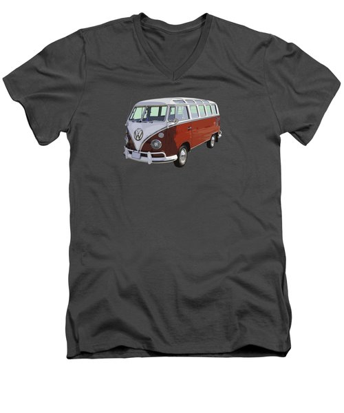 Volkswagen Bus 21 Window Bus  Men's V-Neck T-Shirt by Keith Webber Jr