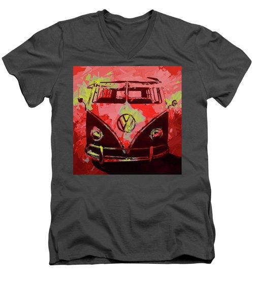 Volkswagen Bus Pop Red Men's V-Neck T-Shirt
