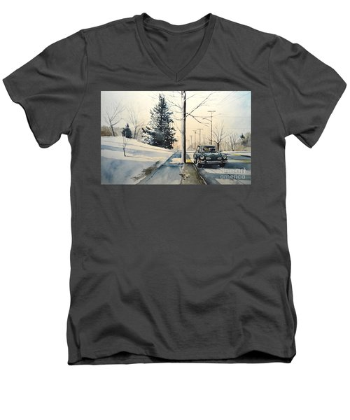 Men's V-Neck T-Shirt featuring the painting Volkswagen Karmann Ghia On Snowy Road by Christopher Shellhammer