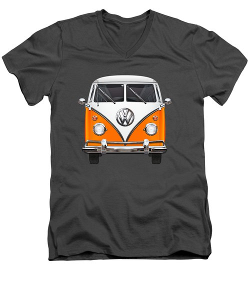 Volkswagen Type - Orange And White Volkswagen T 1 Samba Bus Over Blue Canvas Men's V-Neck T-Shirt by Serge Averbukh