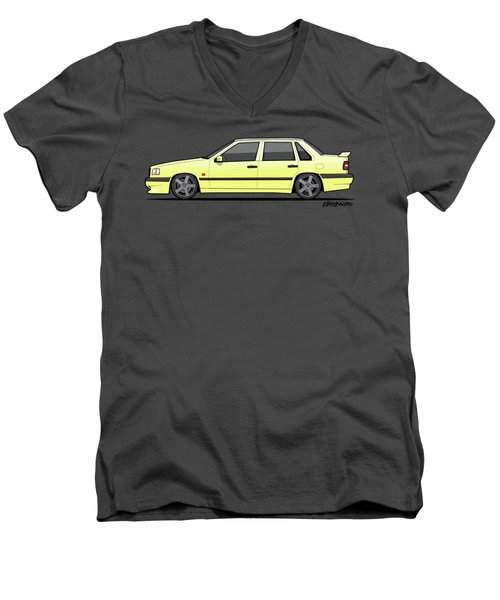 Volvo 850r 854r T5-r Creme Yellow Men's V-Neck T-Shirt by Monkey Crisis On Mars