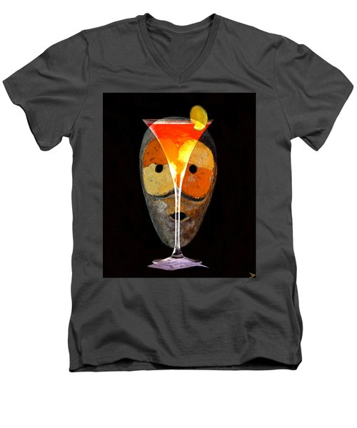 Men's V-Neck T-Shirt featuring the painting Voodoo Martini by David Lee Thompson