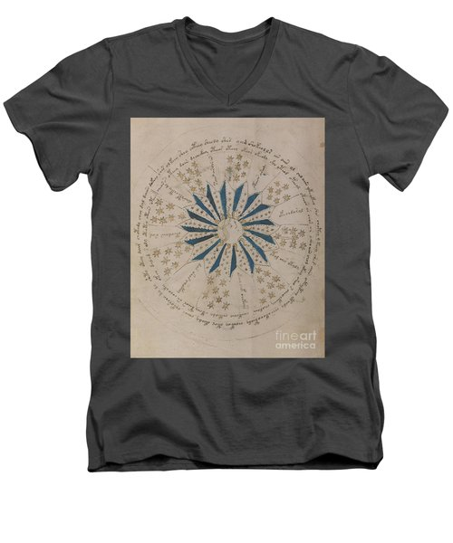 Voynich Manuscript Astro Rosette 1 Men's V-Neck T-Shirt