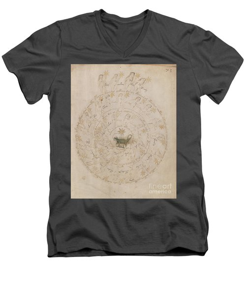 Voynich Manuscript Astro Scorpio Men's V-Neck T-Shirt