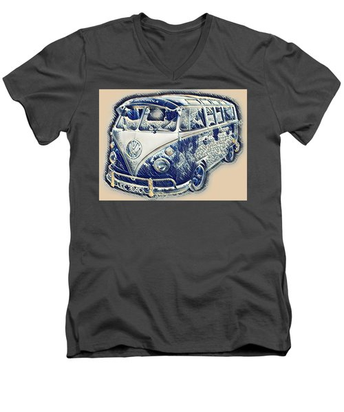 Vw Camper Van Waves Men's V-Neck T-Shirt by John Colley