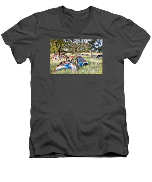 Men's V-Neck T-Shirt featuring the photograph Vw Graveyard by Lawrence Burry