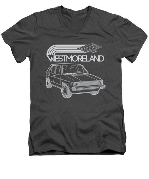 Vw Rabbit - Westmoreland Theme - Gray Men's V-Neck T-Shirt by Ed Jackson