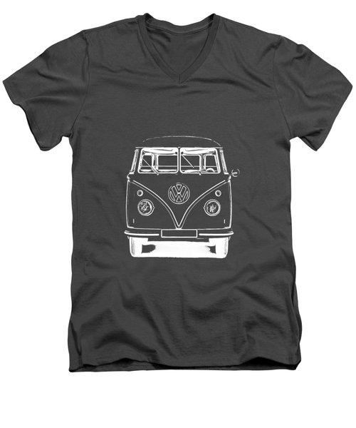 Vw Van Graphic Artwork Tee White Men's V-Neck T-Shirt by Edward Fielding