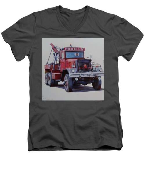 Men's V-Neck T-Shirt featuring the painting Ward La France Wrecker by Mike Jeffries
