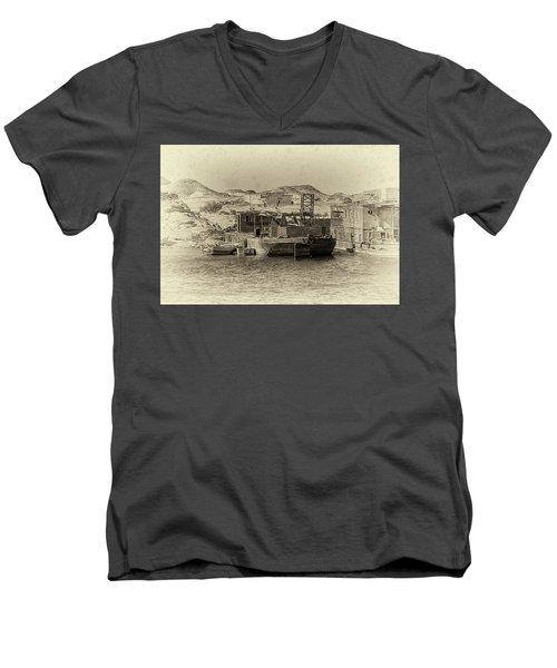 Wadi Al-sebua Antiqued Men's V-Neck T-Shirt by Nigel Fletcher-Jones