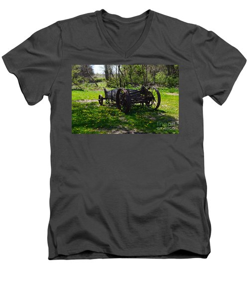 Wagon And Dandelions Men's V-Neck T-Shirt by Renie Rutten