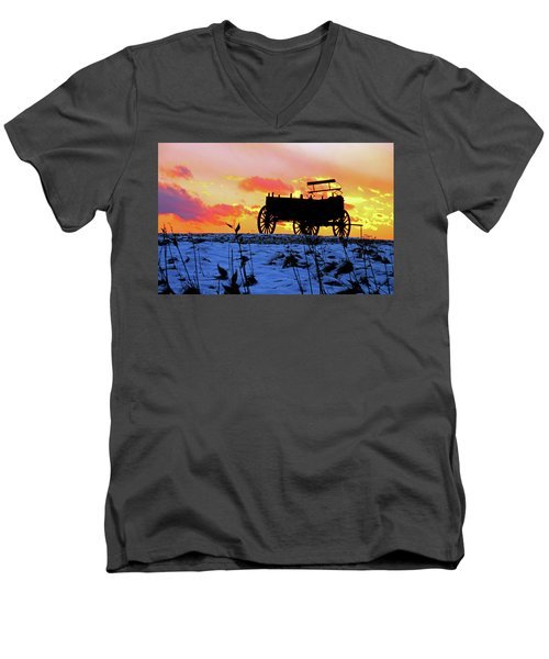 Wagon Hill At Sunset Men's V-Neck T-Shirt