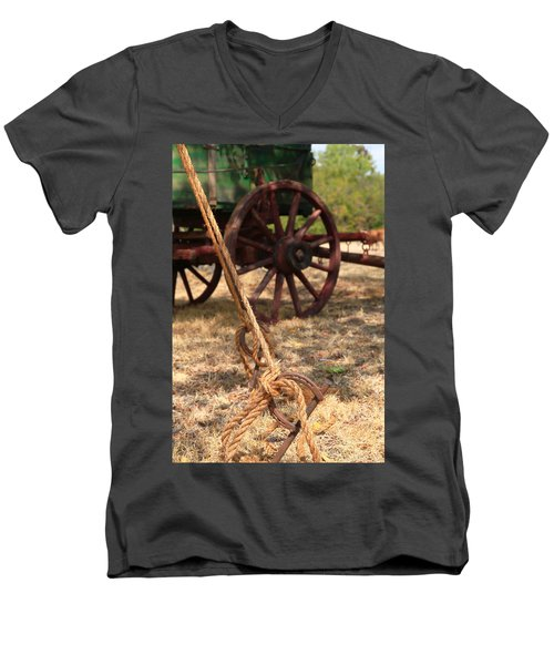 Wagon Stake Men's V-Neck T-Shirt by Toni Hopper