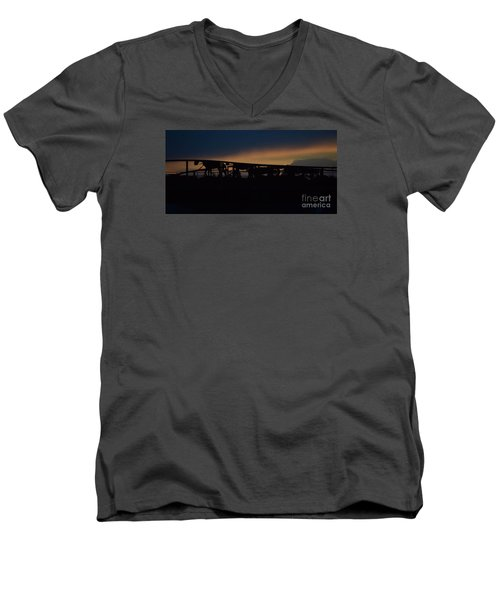 Men's V-Neck T-Shirt featuring the photograph Wagon Train Slihoutte by Mark McReynolds