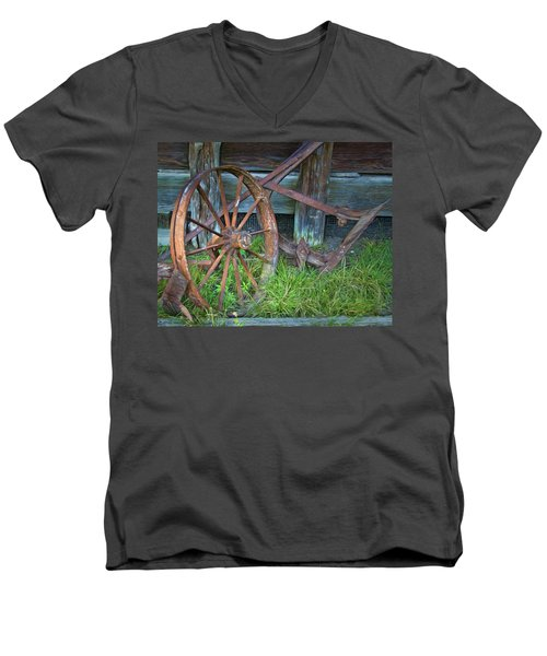 Men's V-Neck T-Shirt featuring the photograph Wagon Wheel And Fence by David and Carol Kelly