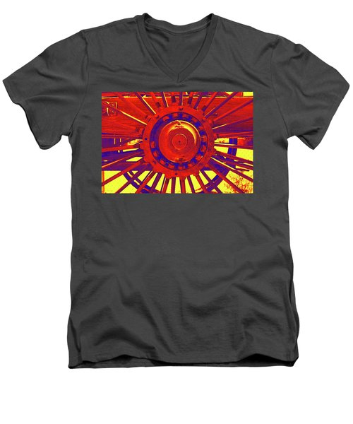 Men's V-Neck T-Shirt featuring the photograph Wagon Wheel by Cynthia Powell