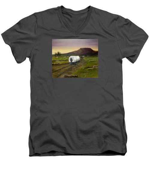 Men's V-Neck T-Shirt featuring the painting Wagons West by Sheri Keith