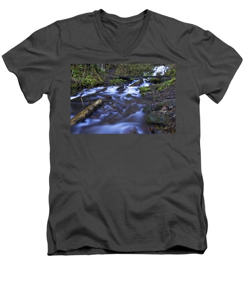 Wahkeena Creek Bridge # 5 Signed Men's V-Neck T-Shirt