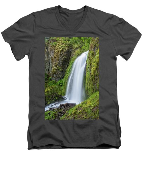 Men's V-Neck T-Shirt featuring the photograph Wahkeena Falls by Greg Nyquist
