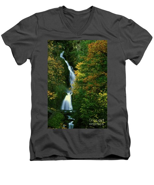 Wahkeena Falls Waterfall Men's V-Neck T-Shirt