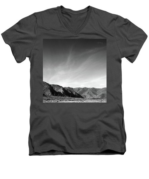 Wainui Hills Squared In Black And White Men's V-Neck T-Shirt by Joseph Westrupp
