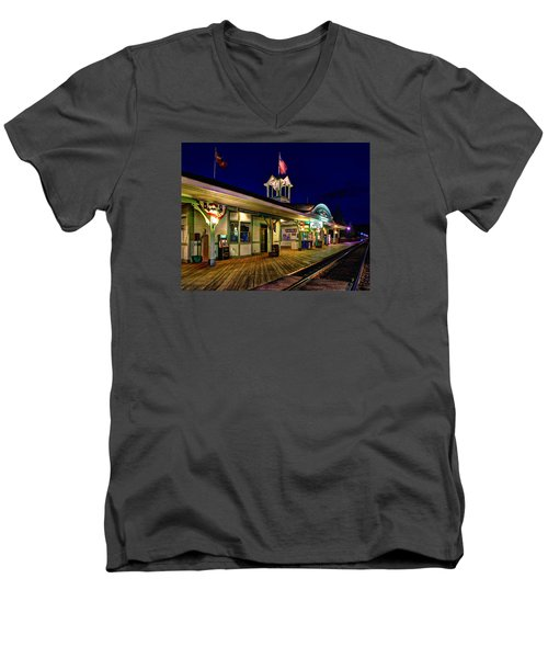 Waiting For A Train 023 Men's V-Neck T-Shirt
