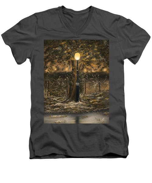 Men's V-Neck T-Shirt featuring the painting Waiting For The Snow by Veronica Minozzi