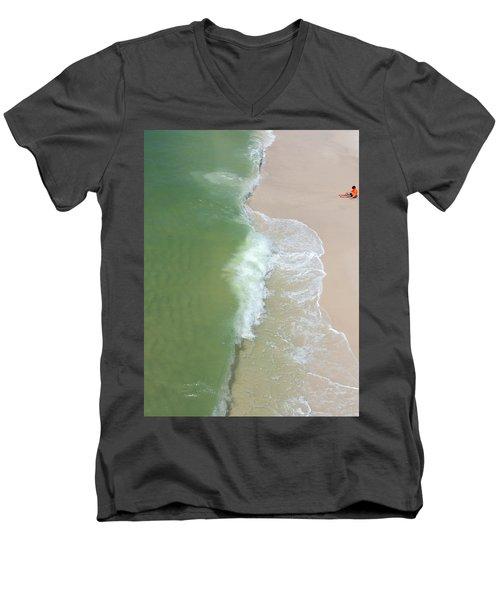 Waiting For The Wave Men's V-Neck T-Shirt by Teresa Schomig