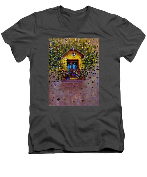 Men's V-Neck T-Shirt featuring the painting Waiting For You..3 by Cristina Mihailescu