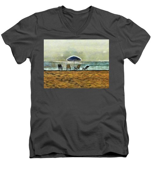Men's V-Neck T-Shirt featuring the mixed media Waiting On High Tide by Trish Tritz