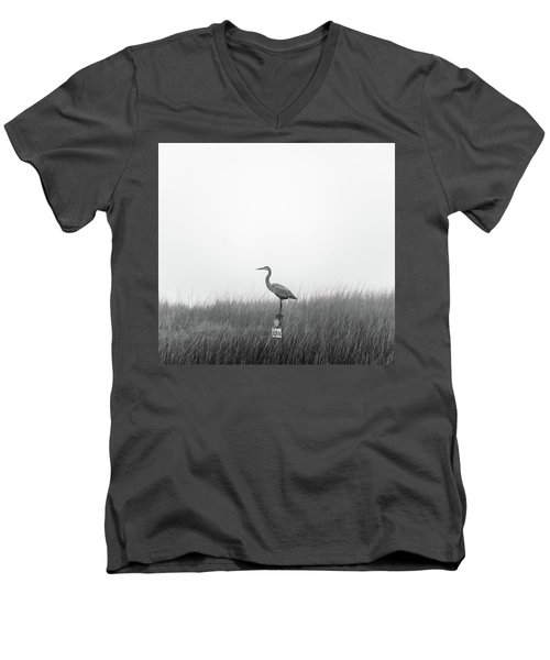 Men's V-Neck T-Shirt featuring the photograph Waiting On The Fog To Clear by Donnie Whitaker