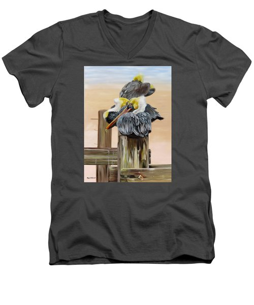 Men's V-Neck T-Shirt featuring the painting Waiting On The Tide by Phyllis Beiser