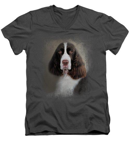 Waiting Patiently - English Springer Spaniel Men's V-Neck T-Shirt by Jai Johnson