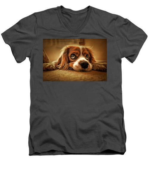 Men's V-Neck T-Shirt featuring the painting Waiting Pup by Harry Warrick