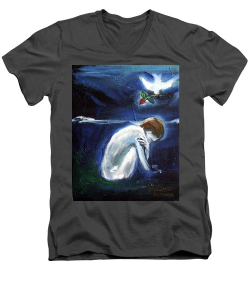 Men's V-Neck T-Shirt featuring the painting Waiting by Winsome Gunning