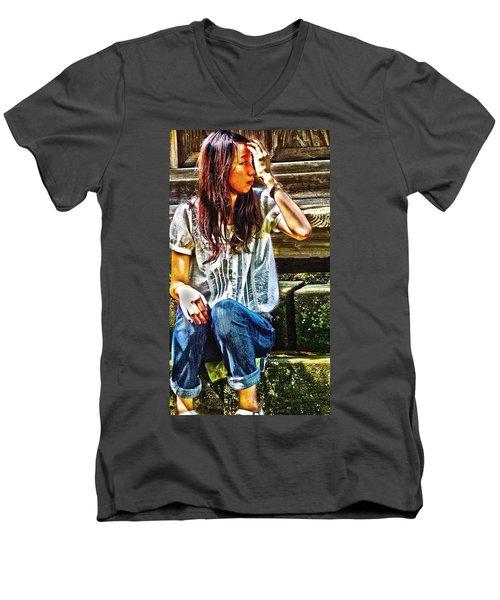 Men's V-Neck T-Shirt featuring the digital art Waitng For You by Tim Ernst