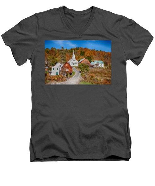 Waits River Church In Autumn Men's V-Neck T-Shirt