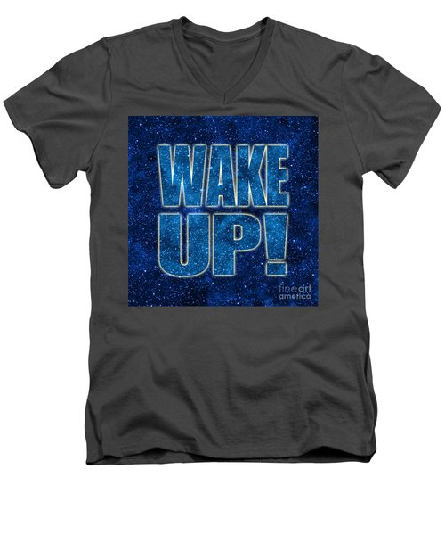 Men's V-Neck T-Shirt featuring the digital art Wake Up Space Background by Ginny Gaura