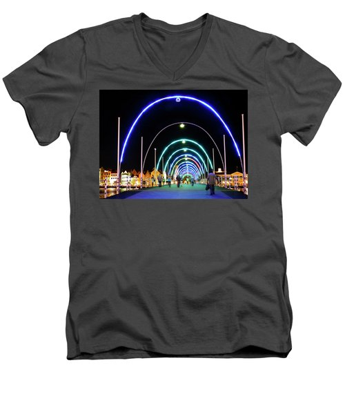 Men's V-Neck T-Shirt featuring the photograph Walk Along The Floating Bridge, Willemstad, Curacao by Kurt Van Wagner