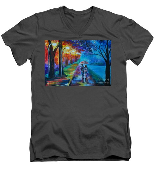 Men's V-Neck T-Shirt featuring the painting Walk By The Lake  by Leslie Allen