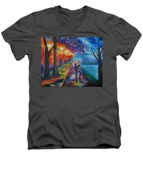 Men's V-Neck T-Shirt featuring the painting Walk By The Lake Series 1 by Leslie Allen