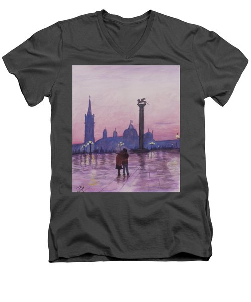 Men's V-Neck T-Shirt featuring the painting Walk In Italy In The Rain by Dan Wagner