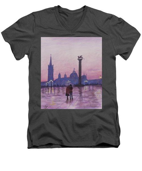 Walk In Italy In The Rain Men's V-Neck T-Shirt